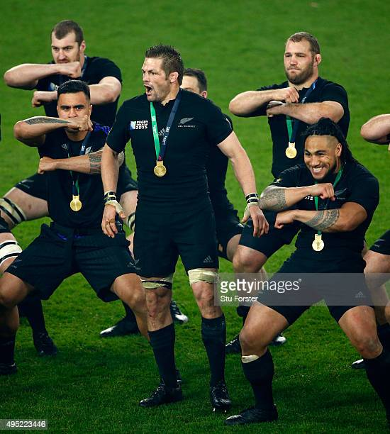 Richie McCaw of New Zealand leads the Haka after the 2015 Rugby World Cup Final match between New Zealand and Australia at Twickenham Stadium on...