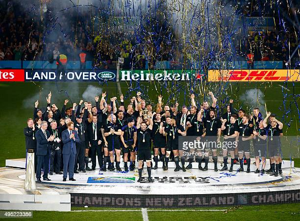 Richie McCaw of New Zealand lifts the trophy after the 2015 Rugby World Cup Final match between New Zealand and Australia at Twickenham Stadium on...