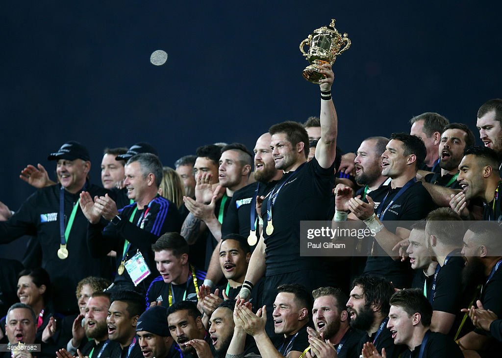 Richie McCaw of New Zealand lifts the Webb Ellis Cup after victory in the 2015 Rugby World Cup Final match between New Zealand and Australia at Twickenham Stadium on October 31, 2015 in London, United Kingdom.