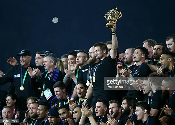 Richie McCaw of New Zealand lifts the Webb Ellis Cup after victory in the 2015 Rugby World Cup Final match between New Zealand and Australia at...