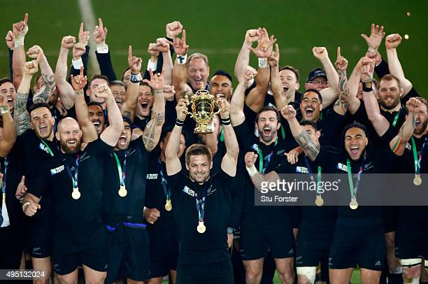 Richie McCaw of New Zealand lifts the Webb Ellis Cup during the 2015 Rugby World Cup Final match between New Zealand and Australia at Twickenham...