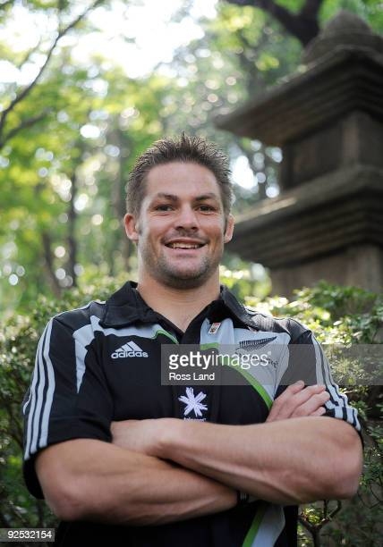 Richie McCaw of New Zealand poses in the Japanese garden at the team hotel after his press conference prior to the All Blacks Captain's Run at the...