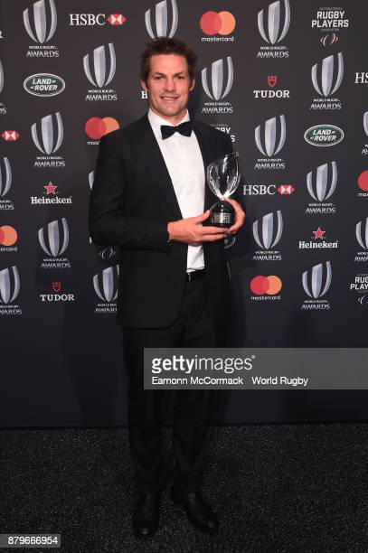 Richie McCaw of New Zealand poses with the IRPA Special Merit Award during the World Rugby Awards 2017 in the Salle des Etoiles at MonteCarlo...