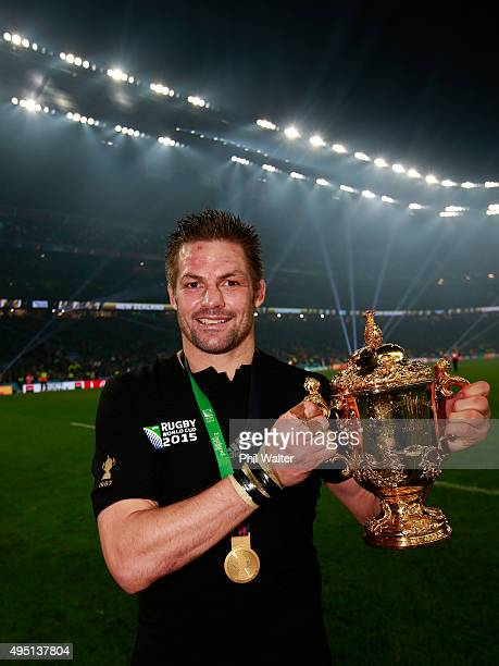 Richie McCaw of New Zealand poses with the Webb Ellis Cup after victory in the 2015 Rugby World Cup Final match between New Zealand and Australia at...