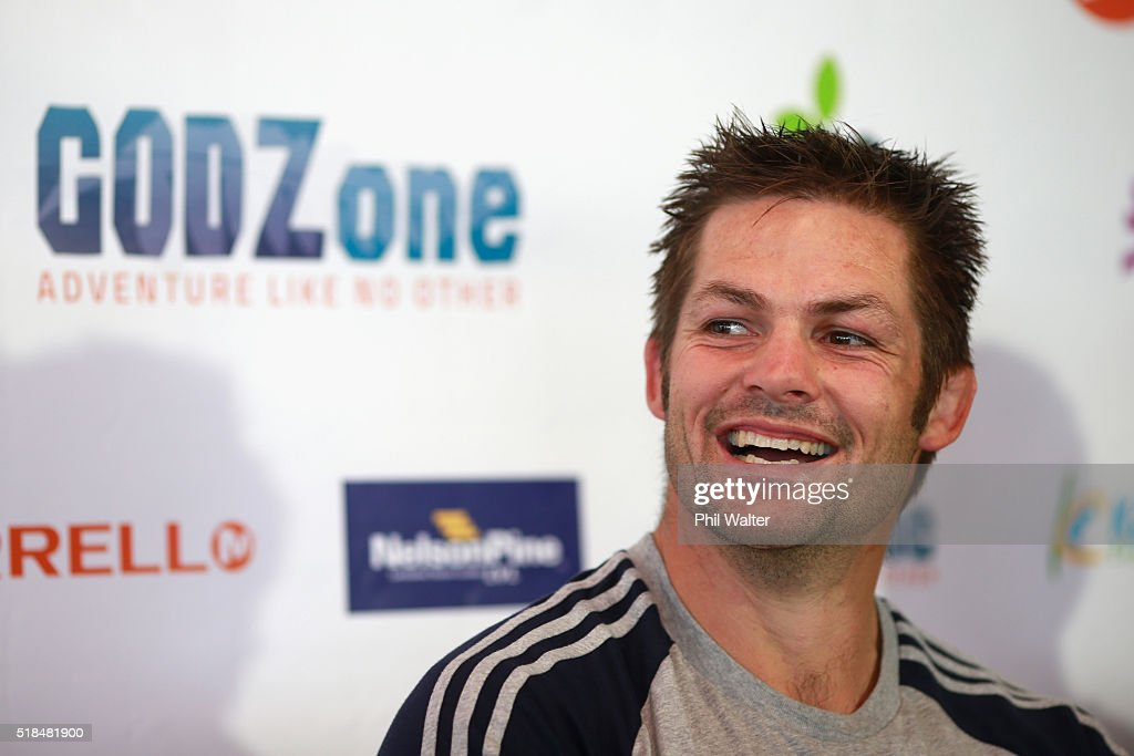 Richie McCaw of Team Cure Kids speaks to media during a press conference at Kaiteriteri Beach ahead of tomorrows start of the GODZone multi day adventure race on April 2, 2016 in Nelson, New Zealand. Teams of four will race for seven days in the Tasman district of the South Island.