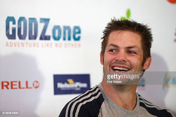 Richie McCaw of Team Cure Kids speaks to media during a press conference at Kaiteriteri Beach ahead of tomorrows start of the GODZone multi day...