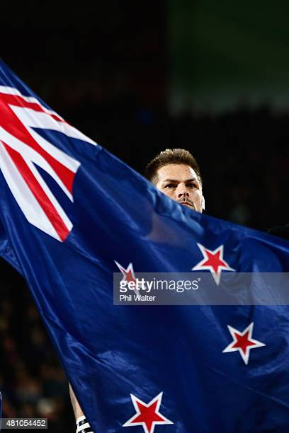 Richie McCaw of the All Blacks before The Rugby Championship match between the New Zealand All Blacks and Argentina at AMI Stadium on July 17 2015 in...