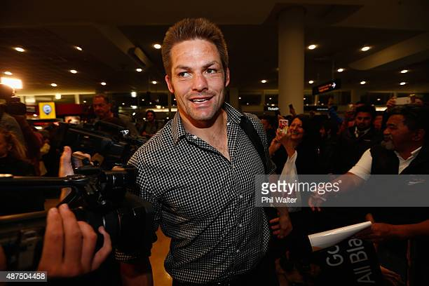 Richie McCaw of the All Blacks departs for the 2015 Rugby World Cup on September 10 2015 in Auckland New Zealand