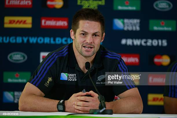Richie McCaw of the All Blacks during a New Zealand All Blacks media session at Pennyhill Park on October 29 2015 in Bagshot United Kingdom