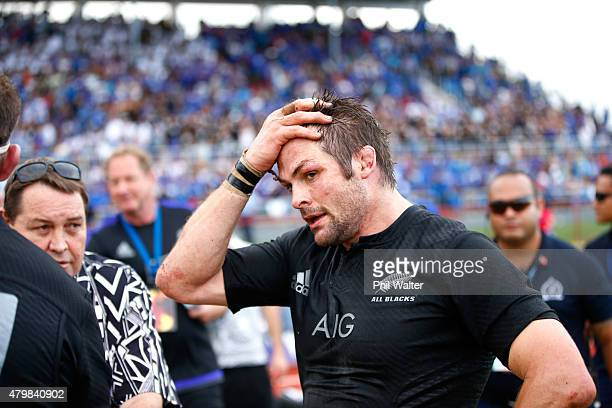 Richie McCaw of the All Blacks following the International Test match between Samoa and the New Zealand All Blacks at Apia Stadium on July 8 2015 in...