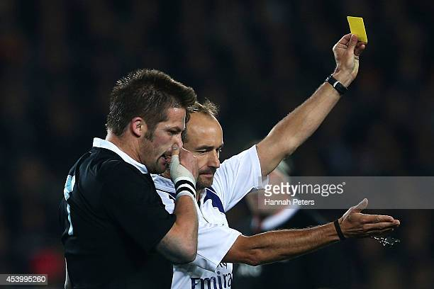 Richie McCaw of the All Blacks is given a yellow card during The Rugby Championship match between the New Zealand All Blacks and the Australian...