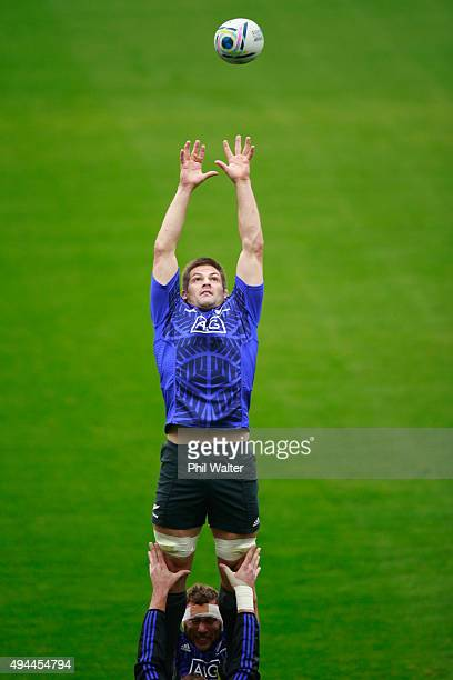 Richie McCaw of the All Blacks leaps in the lineout during a New Zealand All Blacks training session at Pennyhill Park on October 27, 2015 in...