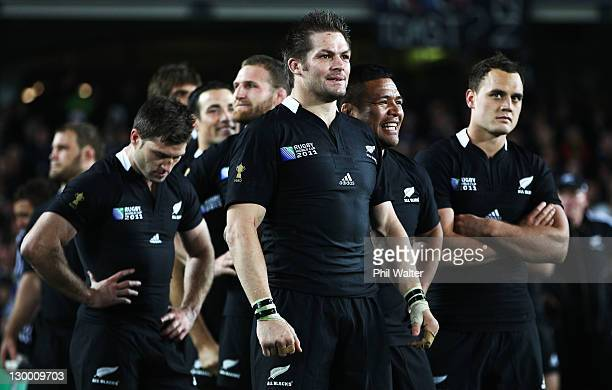 Richie McCaw of the All Blacks looks on during the 2011 IRB Rugby World Cup Final match between France and New Zealand at Eden Park on October 23...