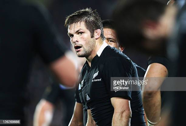 Richie McCaw of the All Blacks looks on in his 100th test match during the IRB 2011 Rugby World Cup Pool A match between New Zealand and France at...