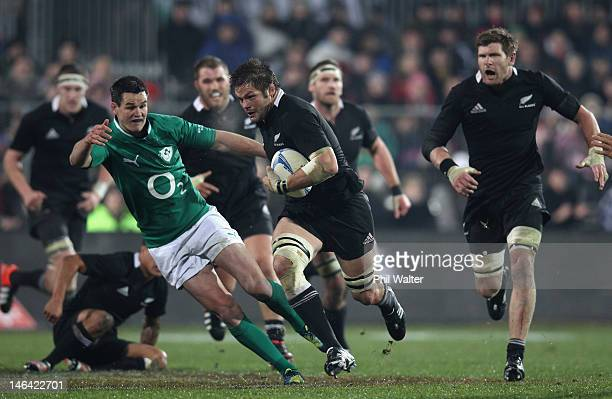 Richie McCaw of the All Blacks makes a break during the International Test Match between New Zealand and Ireland at AMI Stadium on June 16 2012 in...
