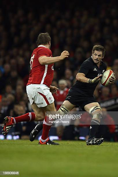 Richie McCaw of the All Blacks makes a break during the international match between Wales and New Zealand at Millennium Stadium on November 24 2012...