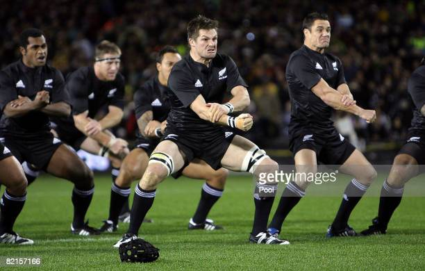 Richie McCaw of the All Blacks performs the haka before the 2008 Tri Nations series Bledisloe Cup match between the Australian Wallabies and the New...