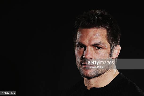 Richie McCaw of the All Blacks poses for a photo during the New Zealand All Blacks portrait session at The Spencer on Byron Hotel on June 24 2015 in...