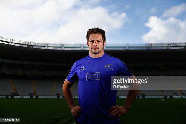 Richie McCaw of the All Blacks poses for a portrait during the New Zealand All Blacks Captain's Run at Eden Park on August 14 2015 in Auckland New...