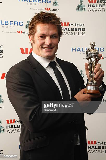 Richie McCaw of the All Blacks poses with his award for Sportsman of the Year during the 2012 Halberg Awards at Sky City Convention Centre on...