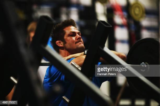 Richie McCaw of the All Blacks trains during a New Zealand All Blacks Gym Session at Les Mills on June 2 2014 in Auckland New Zealand