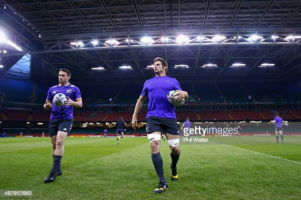Richie McCaw of the All Blacks warms up for a New Zealand All Blacks Captain's Run at Millenium Stadium on October 16 2015 in Cardiff United Kingdom