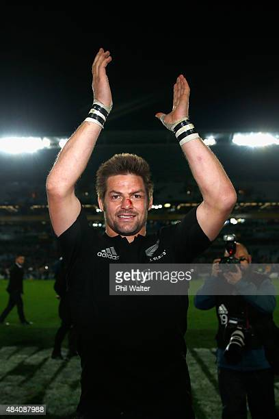 Richie McCaw of the All Blacks waves to the crowd following The Rugby Championship Bledisloe Cup match between the New Zealand All Blacks and the...