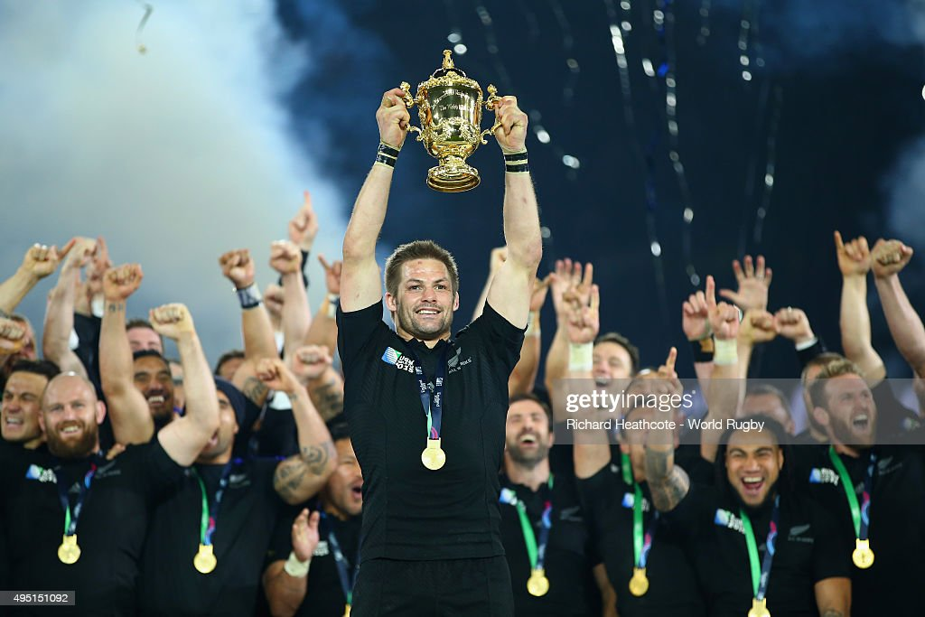 Richie McCaw of the New Zealand All Blacks lifts the Webb Ellis Cup following the victory against Australia in the 2015 Rugby World Cup Final match between New Zealand and Australia at Twickenham Stadium on October 31, 2015 in London, United Kingdom.