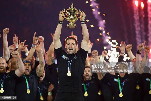 Richie McCaw of the New Zealand All Blacks lifts the Webb Ellis Cup following the victory against Australia in the 2015 Rugby World Cup Final match...