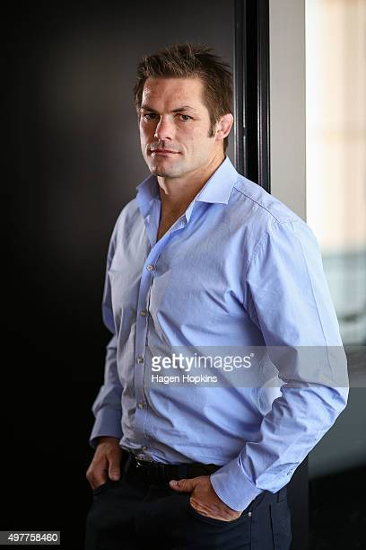 Richie McCaw poses during a media conference to announce his retirement from rugby at New Zealand Rugby House on November 19 2015 in Wellington New...