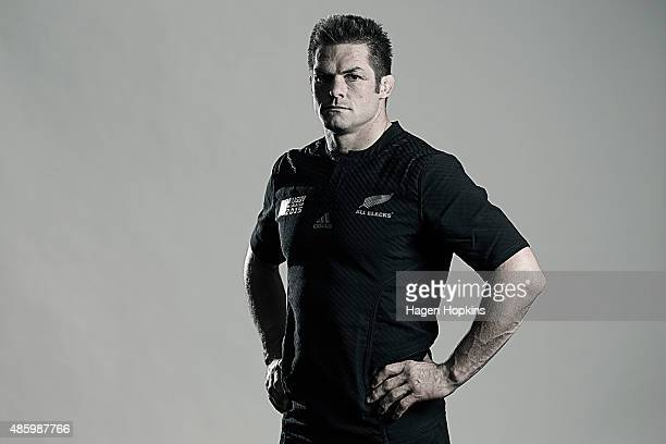 Richie McCaw poses during a New Zealand All Blacks Rugby World Cup Squad Portrait Session on August 31 2015 in Wellington New Zealand