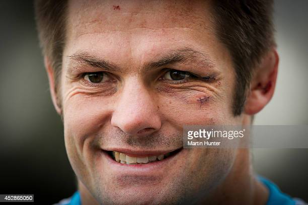 Richie McCaw talks to the media during a Crusaders Super Rugby training session at Rugby Park on July 29 2014 in Christchurch New Zealand