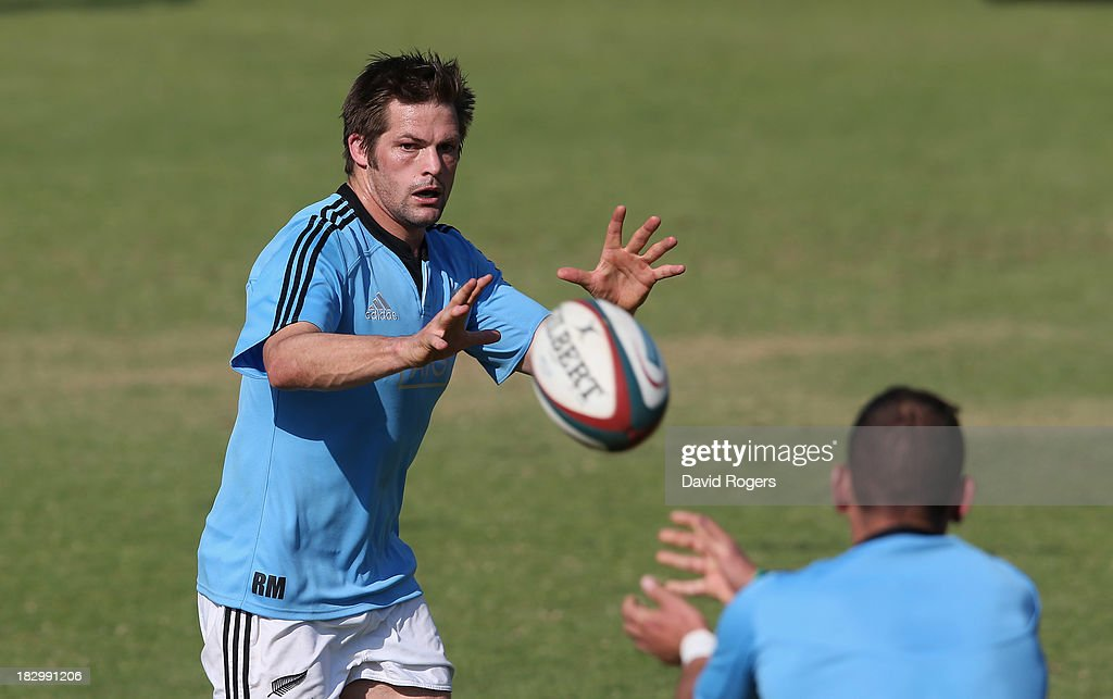 Richie McCaw, the All Black captain, catches the ball during the New Zealand All Blacks training session held at Wits University on October 3, 2013 in Johannesburg, South Africa.