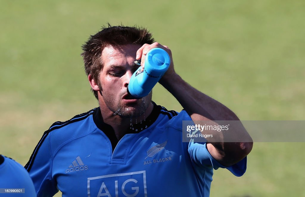 Richie McCaw, the All Black captain takes a drink during the New Zealand All Blacks training session held at Wits University on October 3, 2013 in Johannesburg, South Africa.