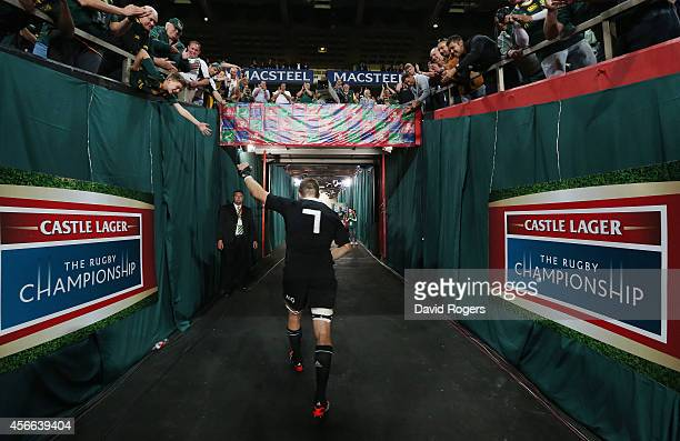 Richie McCaw the All Black captain who broke the record for appearance for the All Blacks walks down the tunnel after his teams defeat during the...