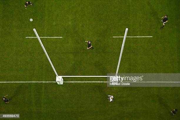 Richie McCaw the New Zealand All Blacks captain looks up as Morgan Parra of France converts a penalty during the 2015 Rugby World Cup Quarter Final...