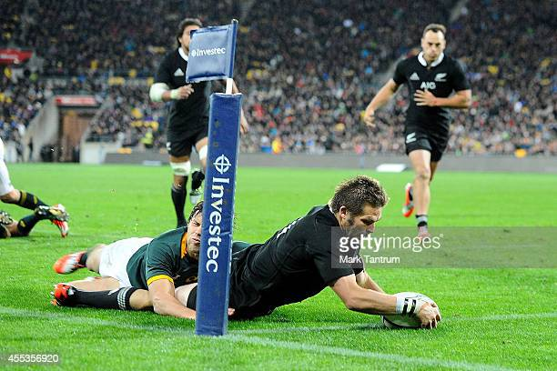 Richie McCaw touches the ball down for a try during The Rugby Championship match between the New Zealand All Blacks and the South Africa Springboks...