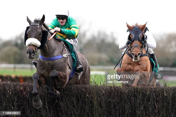 Richie McLernon riding Kimberlite Candy clear the last to win The McCoy Contractors Civil Engineering Classic Handicap Chase at Warwick Racecourse on...