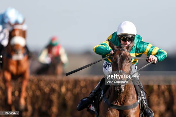Richie McLernon riding Regal Encore clear the last to win The Keltbray Swinley Chase at Ascot Racecourse on February 17 2018 in Ascot England