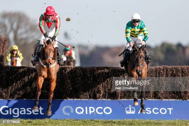 Richie McLernon riding Regal Encore clear the last to win The Keltbray Swinley Chase from Minella Daddy at Ascot Racecourse on February 17 2018 in...