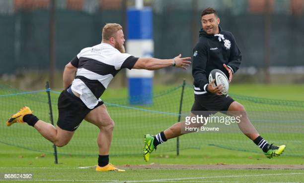 Richie Mo'unga and Akker van der Merwe of Barbarians during a training session at Latymer Upper School playing fields on October 31 2017 in London...