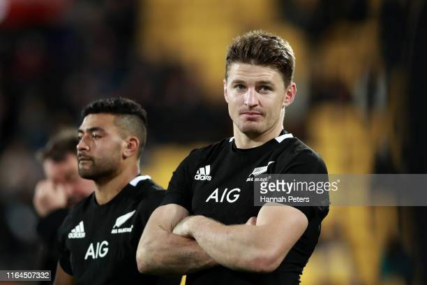 Richie Mo'unga and Beauden Barrett of the All Blacks look on after drawing the 2019 Rugby Championship Test Match between New Zealand and South...