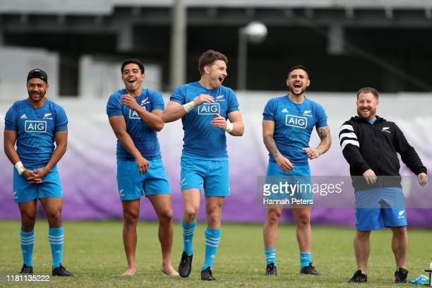Richie Mo'unga Anton LienertBrown Beauden Barrett TJ Perenara and assistant performance analyst Hayden Chapman of the All Blacks react during a New...