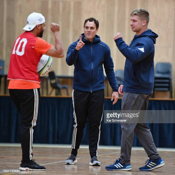 Richie Mo'unga Israel Dagg and Jack Goodhue react during a Crusaders Super Rugby training session at St Andrew's College on July 23 2018 in...