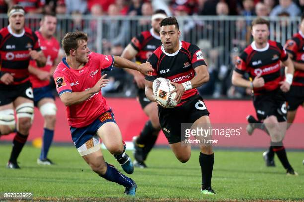 Richie Mo'unga of Canterbury breaks away to score a try during the Mitre 10 Cup Premiership Final match between Canterbury and Tasman at AMI Stadium...