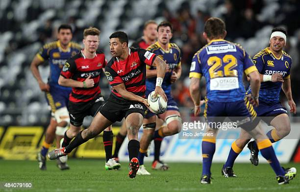 Richie Mounga of Canterbury prepares to pass during the round one ITM Cup match between Otago and Canterbury at Forsyth Barr Stadium on August 15,...