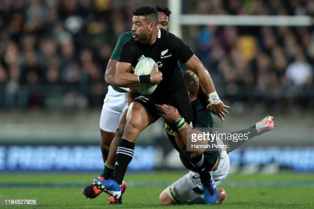 Richie Mo'unga of the All Blacks charges forward during the 2019 Rugby Championship Test Match between New Zealand and South Africa at Westpac...