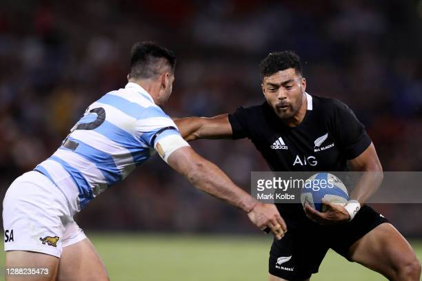 Richie Mo'unga of the All Blacks in action during the 2020 Tri-Nations match between the Argentina Pumas and the New Zealand All Blacks at McDonald...