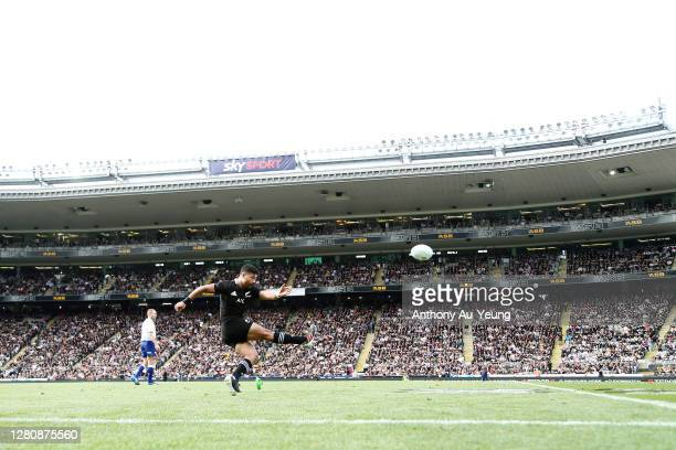 Richie Mo'unga of the All Blacks kicks a conversion during the Bledisloe Cup match between the New Zealand All Blacks and the Australian Wallabies at...