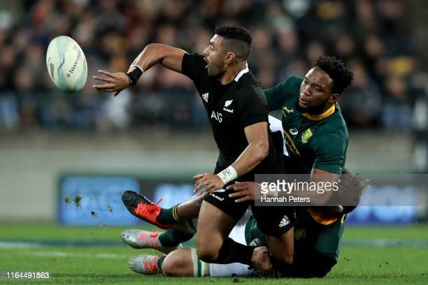 Richie Mo'unga of the All Blacks makes a break during the 2019 Rugby Championship Test Match between New Zealand and South Africa at Westpac Stadium...